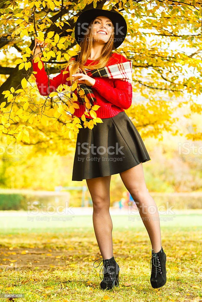 Woman standing by the tree. royalty-free stock photo