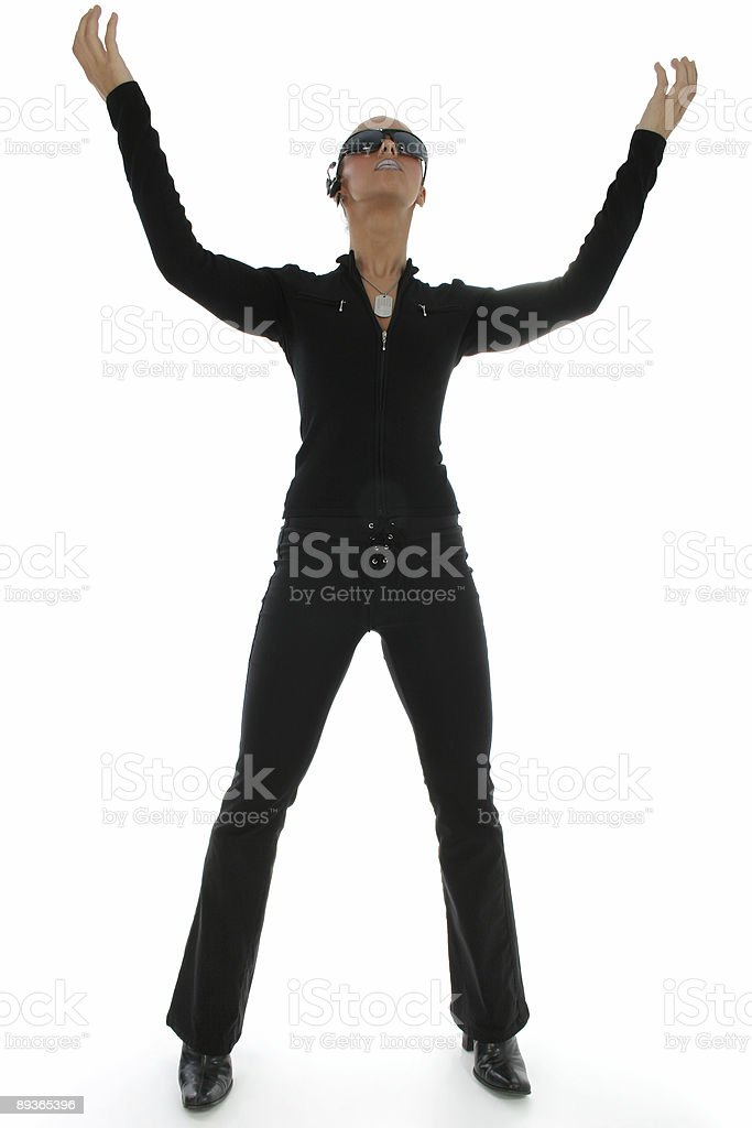 Woman Standing Hands Up royalty-free stock photo
