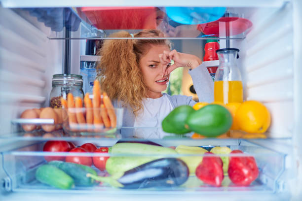 Woman standing in front of opened fridge and holding up to her nose. Woman standing in front of opened fridge and holding up to her nose because of bad smell. Picture taken from the inside of fridge full of groceries. rotting stock pictures, royalty-free photos & images