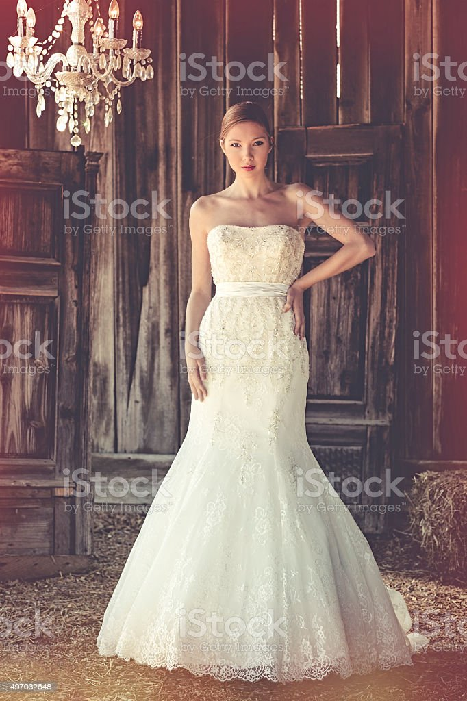 Woman standing in her long wedding dress stock photo