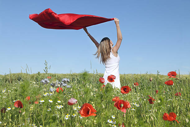 Woman Standing in Poppy Field Holding red scarf to Wind stock photo