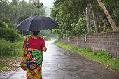 Woman standing in the Rain under her Umbrella