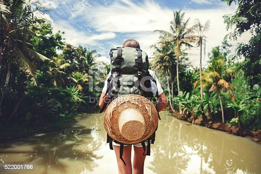 istock Woman standing near big tropical river 522001766