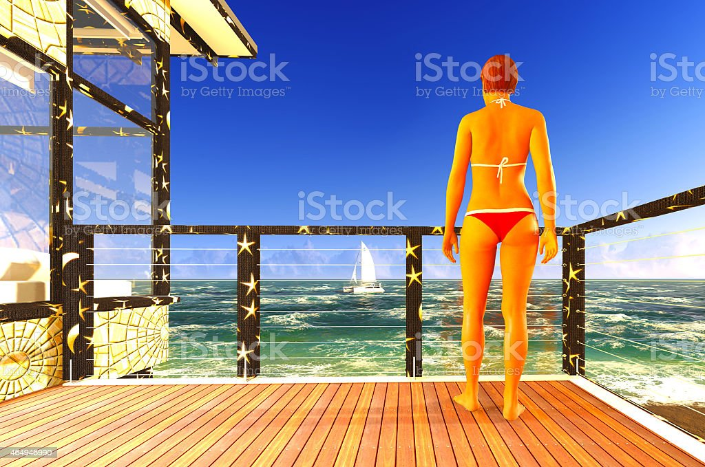 Woman standing on patio stock photo
