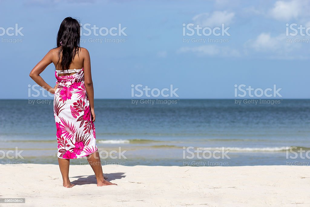 woman standing on the beach royalty-free stock photo