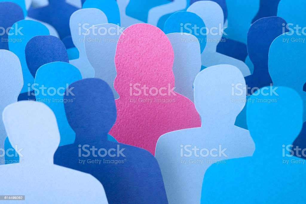 Woman standing out stock photo