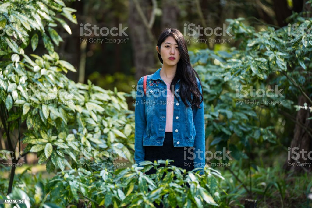 A woman standing stock photo