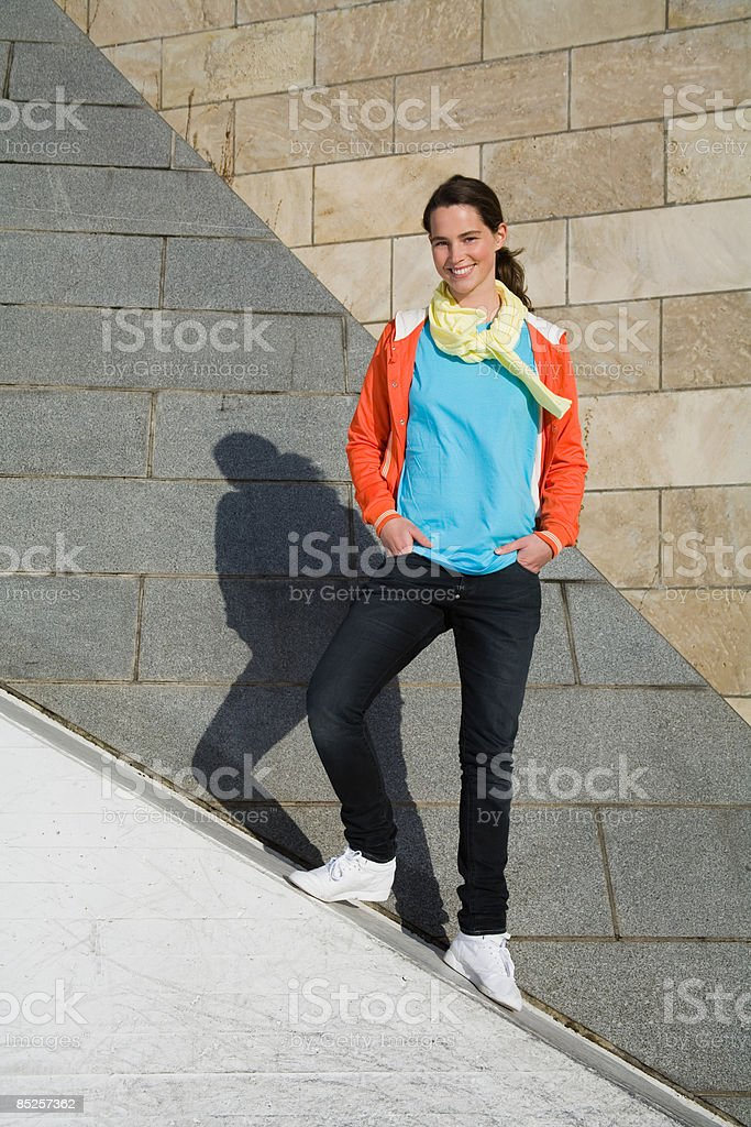 Woman standing slopes royalty-free stock photo