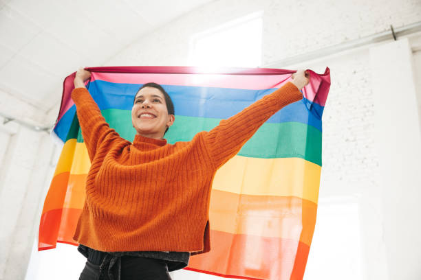 Woman stands for LGBTQIA rights stock photo