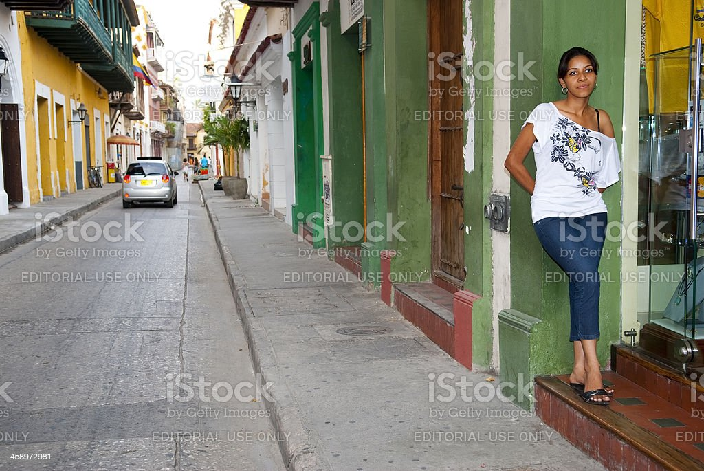 City street in Cartagena, Colombia royalty-free stock photo