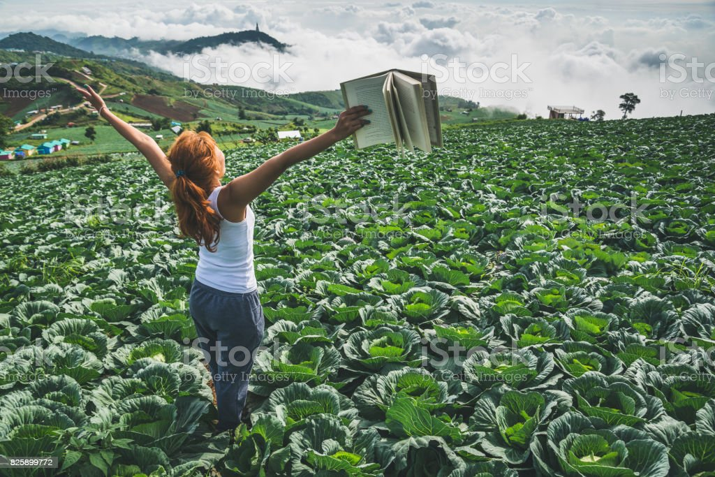 Woman stands reading on a garden turnip. Morning atmosphere The mountains are foggy. phetchabun phutubberg thailand stock photo