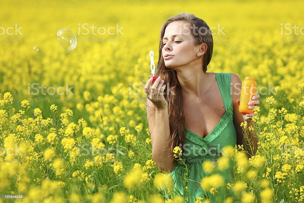 woman start soap bubbles royalty-free stock photo