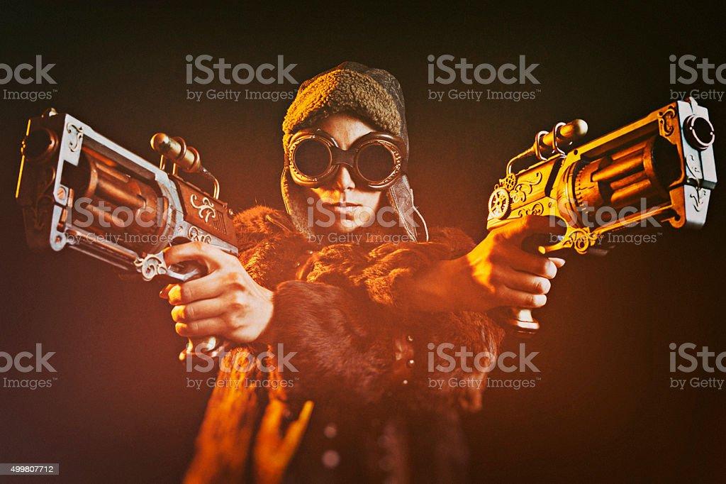 Woman Steampunk Gunslinger stock photo