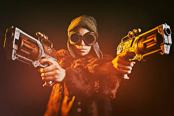 woman steampunk gunslinger - steampunk fashion stock photos and pictures