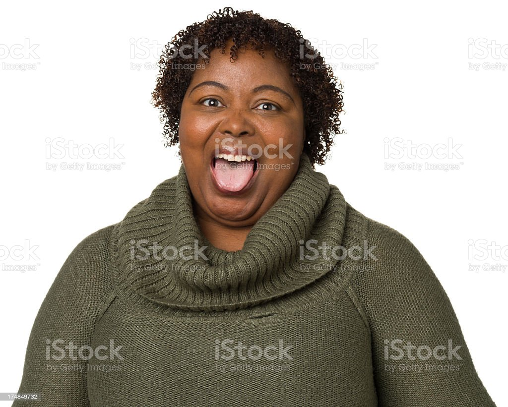 Woman Sticking Out Tongue stock photo