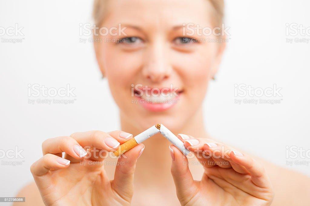 Woman stopped smoking stock photo