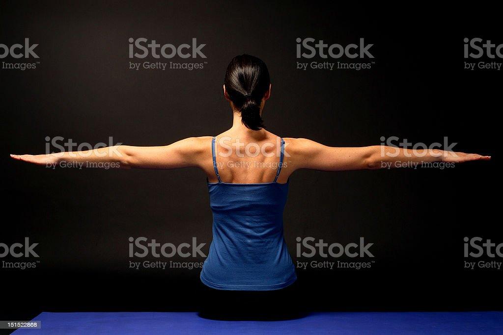 Woman streching stock photo
