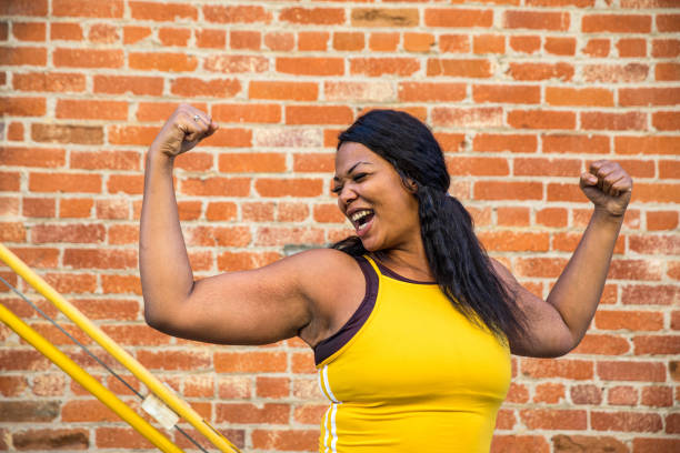 Woman strength, determination, healthy lifestyle stock photo