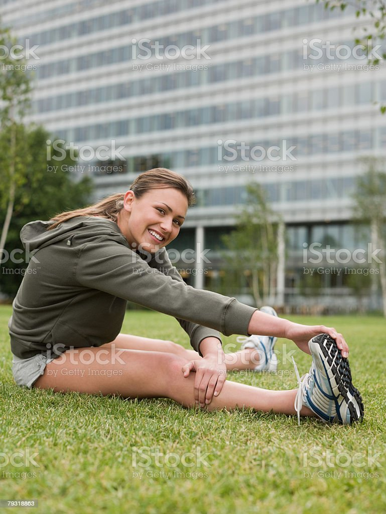 A woman stretching royalty-free 스톡 사진