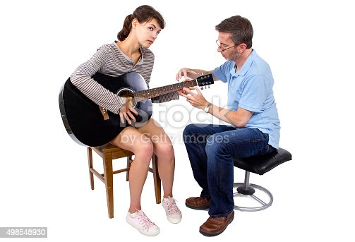 1155122702 istock photo Woman Struggling to Learn Guitar 498548930
