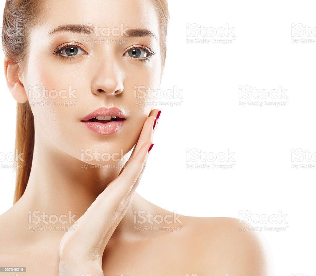 Woman studio portrait beautiful close-up with healthy skin happy stock photo