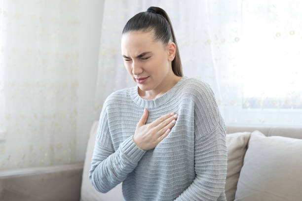 Woman suffering an anxiety stock photo