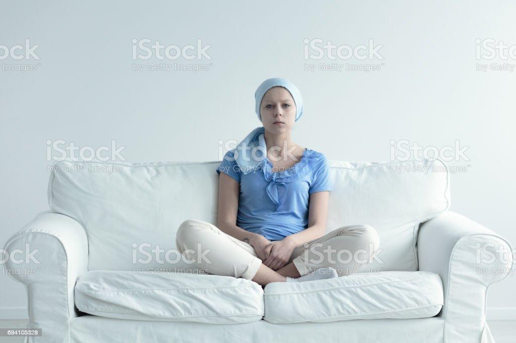 Woman suffering for alopecia stock photo