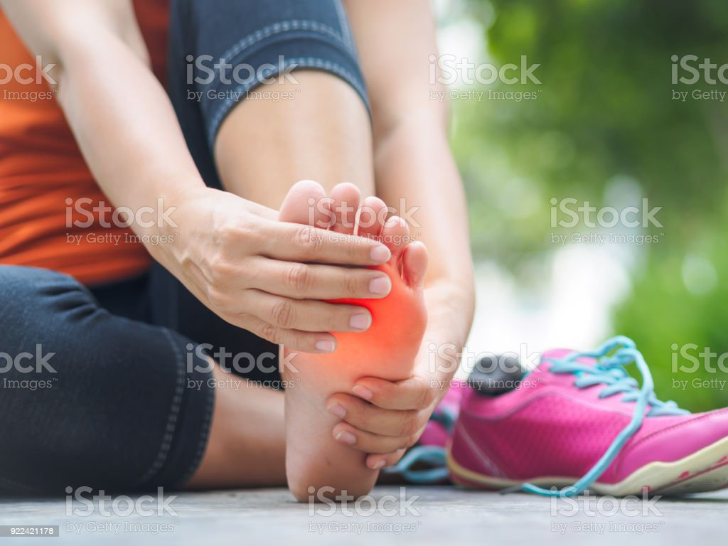 Woman Suffering From An Ankle Injury While Exercising