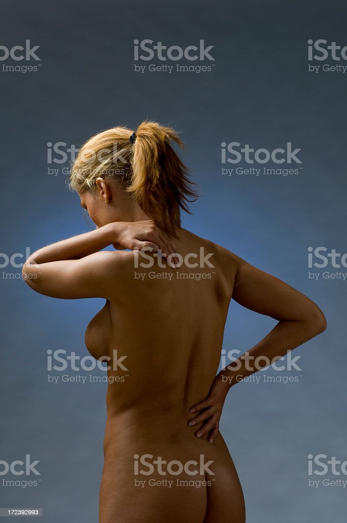 woman suffering from backache royalty-free stock photo