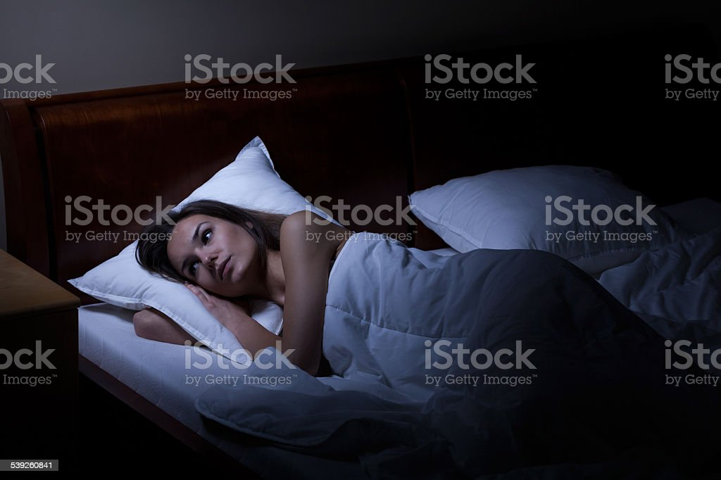 Woman suffering from depression stock photo