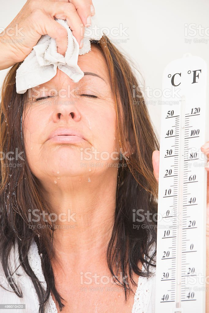 Woman suffering from heat and sweat stock photo