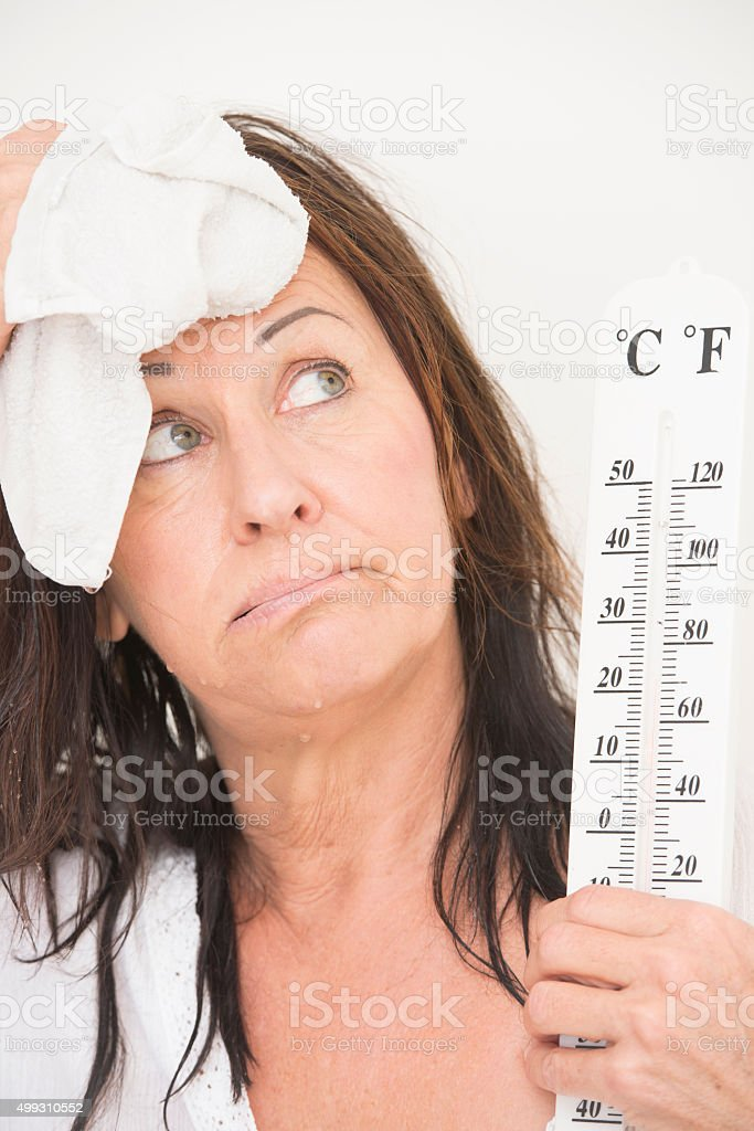 Woman suffering from hot temperatures stock photo