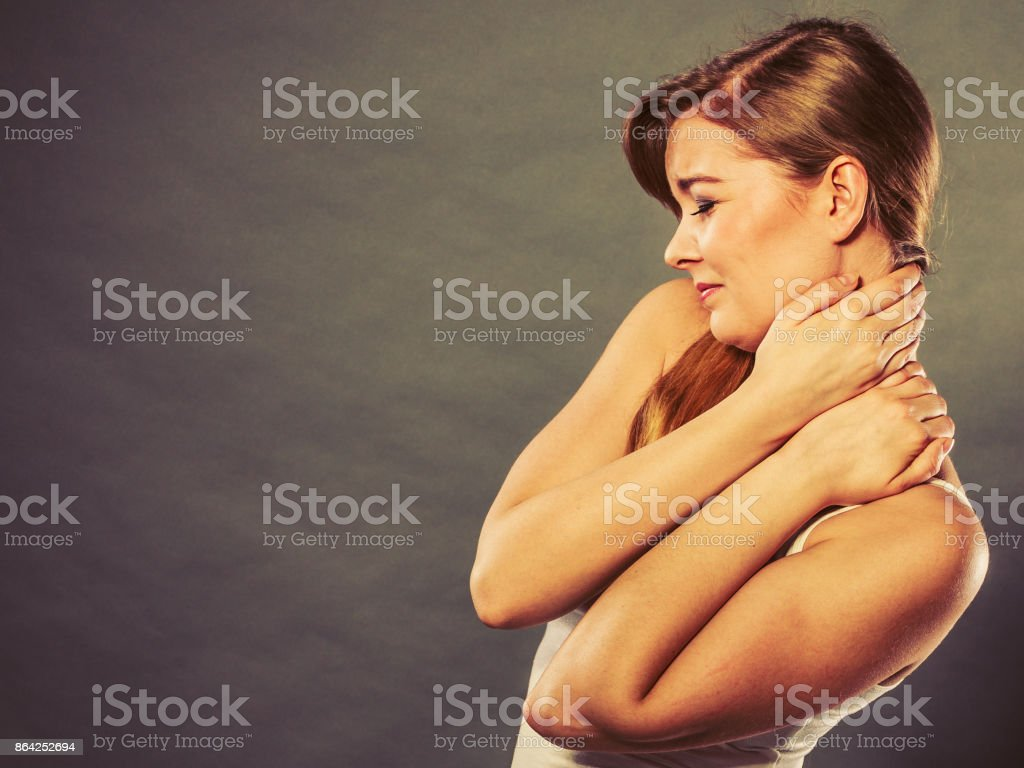 Woman suffering from neck pain royalty-free stock photo