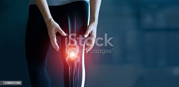 1133511905istockphoto Woman suffering from pain in knee, Injury from workout and osteoarthritis, Tendon problems and Joint inflammation on dark background. 1206802082