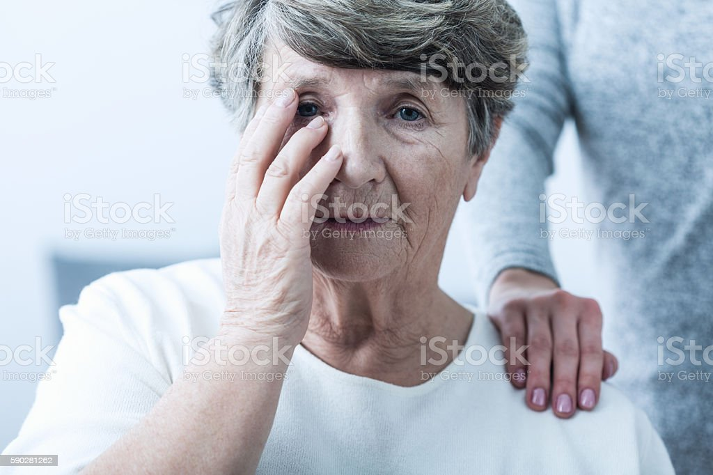 Woman suffering from senility stock photo