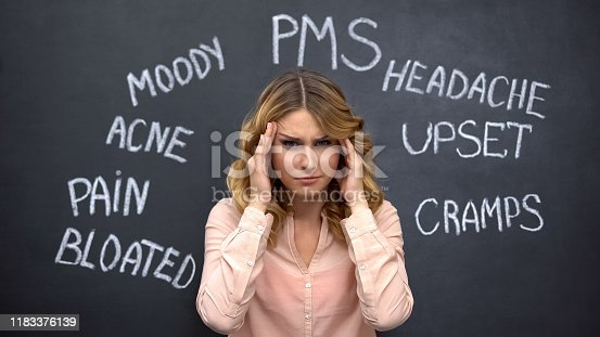 istock Woman suffering headache due to imaginary problems in pms, hormone imbalance 1183376139
