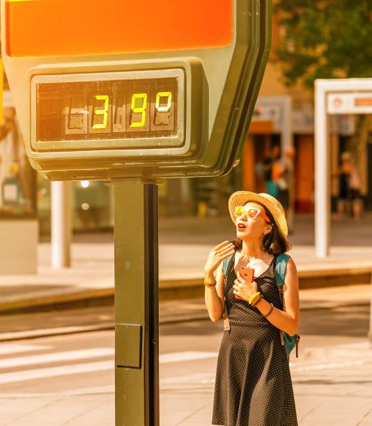 Frau leidet an Hitze und Sonnenanfall bei heißem Wetter auf dem Hintergrund eines Straßenthermometers, das 39 Grad Celsius zeigt – Foto