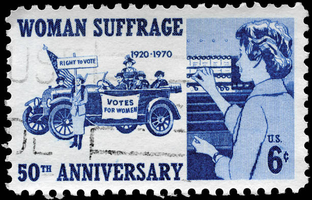 Woman Suffrage A Stamp printed in USA devoted to 50th anniv. of the 19th Amendment, which gave women the vote, circa 1970 women's suffrage stock pictures, royalty-free photos & images