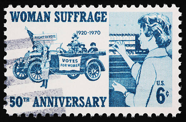 Woman Suffrage Stamp Woman Suffrage Stamp (XXL) on a black background. women's suffrage stock pictures, royalty-free photos & images