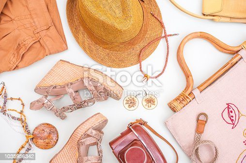 istock Woman Summer Accessorize In Retro Style On White Background 1035956342