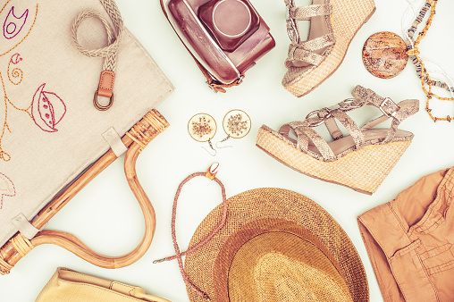 istock Woman Summer Accessorize In Retro Style On White Background 1035956358
