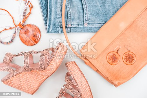 istock Woman Summer Accessorize In Retro Style On White Background 1035956360