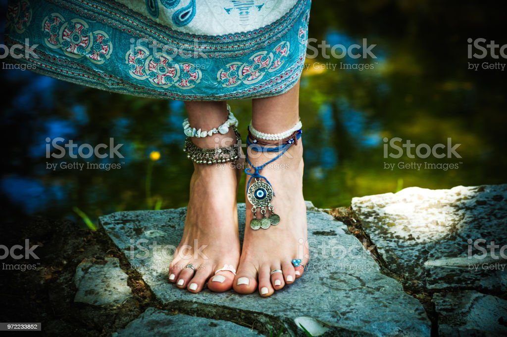 woman summer boho fashion style stock photo