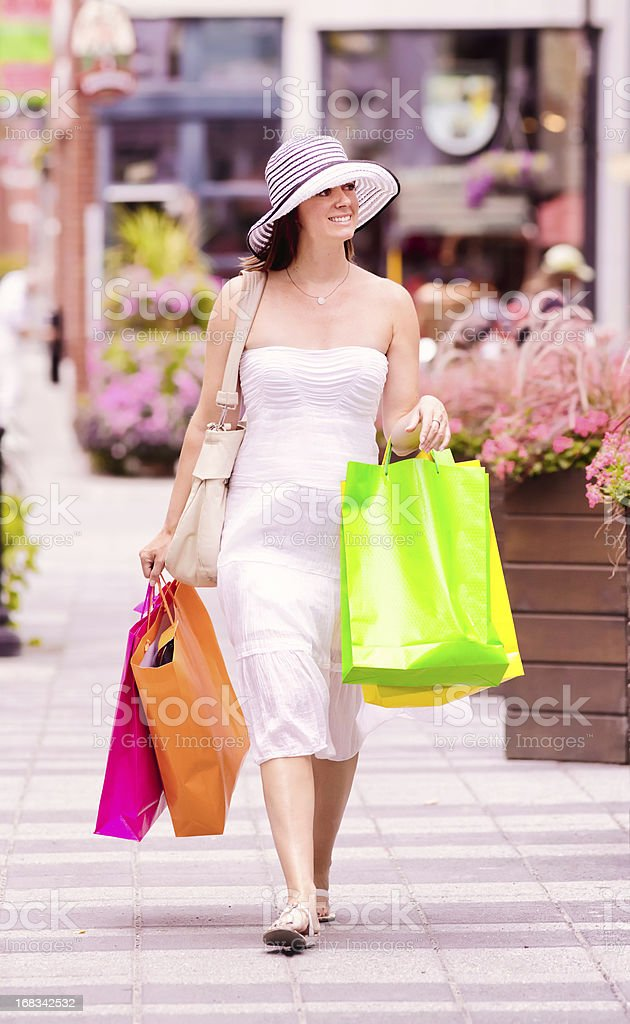 Woman Summer shopping downtown Montreal Vertical royalty-free stock photo