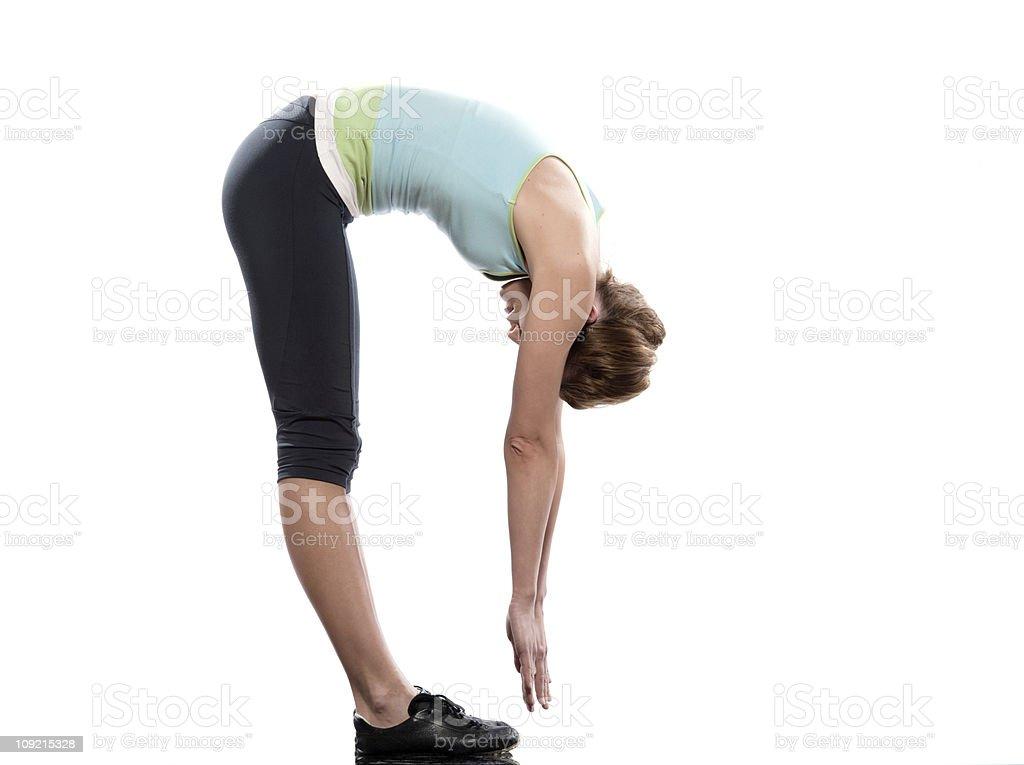 woman sun salutation yoga surya namaskar pose workout stock photo