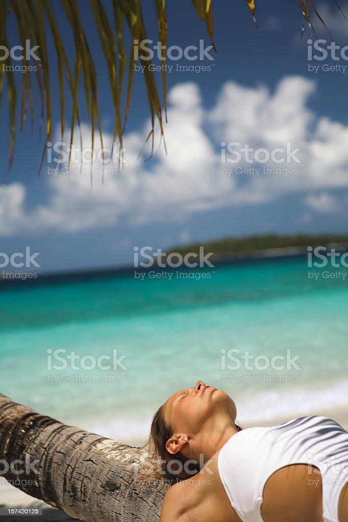 woman sunbathing on palm tree royalty-free stock photo