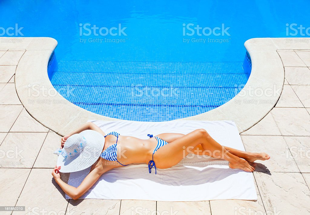 Woman sunbathing royalty-free stock photo