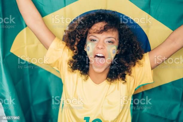 Foto de Mulher Apoiando O Brasil No Campeonato Mundial De Futebol e mais fotos de stock de Adulto