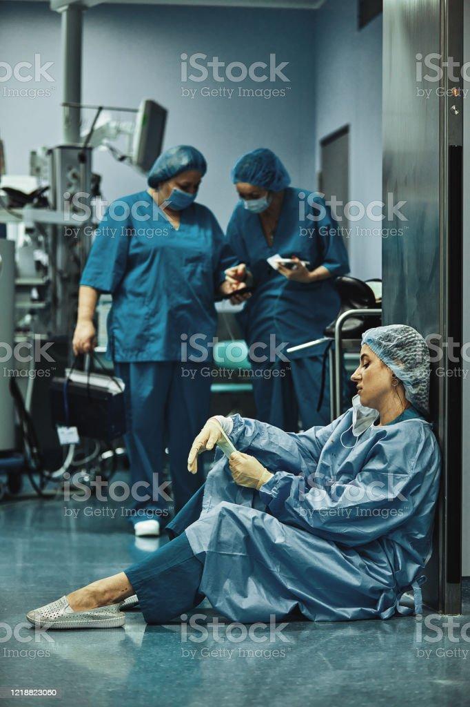 Woman Surgeon Looking Sadness Fatigue After Surgery ...