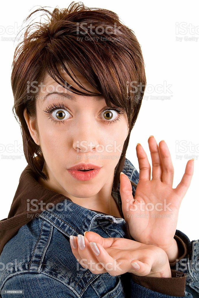 Woman Surprised about Something royalty-free stock photo